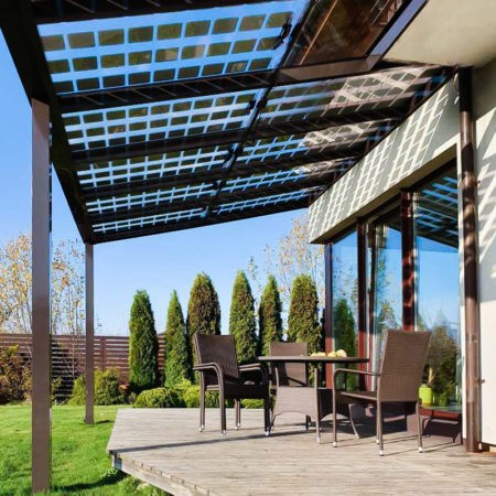 solcellepanel på terrassetak carport veranda eller drivhus
